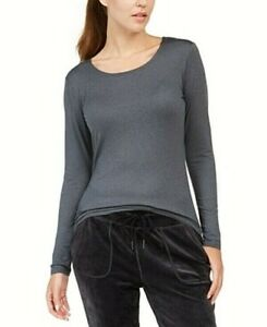 32 Degrees Cozy Heat Long Sleeve Scoop Neck Top Heather Charcoal Free Ship NWT