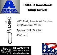 ROSCO Coastlock Snap Swivel Size 2/0 225 LB Test 25 Pack  + 5 Free 2/0 Swivels