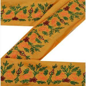 Sanskriti Vintage Sari Border Craft Yellow Trim Hand Embroidered Sewing Lace