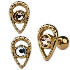 Ornament Tropfen Ohr Helix Tragus Piercing Schmuck mit Kristall Rose Gold Silber