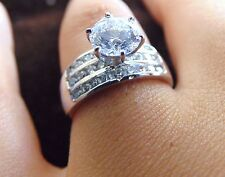 White Gold Man Made Diamond Engagement Ring Solid 14K 1.75 ct Round Halo Side