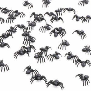 50x Black Plastic Fake Spider Toys Halloween Funny Joke Prank_ Realistic Props