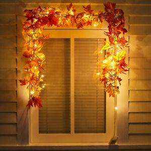 LED Halloween Maple Leaves Garland Autumn Chain Window Fireplace Door Hanging
