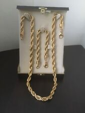 """24""""/8.5"""" Inches Torsade Chain & Bracelet 8mm Thick 18k Gold Filled"""