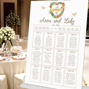 Personalised Floral Heart Design Wedding Seating Table Plan ~Canvas~Board~Paper~