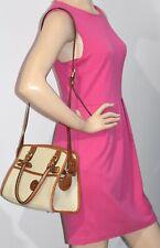 Dooney & Bourke Ivory & Tan Leather Top Handle Shoulder Bag