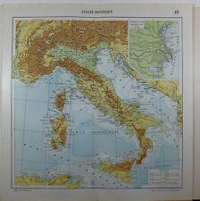 1929 ORIGINAL MAP ~ ITALY PHYSICAL LAND TERRAIN SARDINIA SICILY VENICE