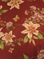 Decorative Pillow Cover Burgundy Green Cream Brown Large Floral Lilies Lilac