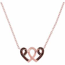 10k Oro Rosa Rojo Color Resaltado Corazón de Diamante Awareness Cinta Colgante