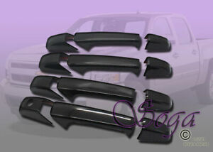 FOR CHEVY SILVERADO SUBURBAN TAHOE AVALANCHE GLOSS BLK DOOR HANDLE COVER COVERS