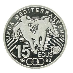 France - Silver 100 Francs/15 ECU Coin - 'Mediterranean Games' - 1993 - Proof