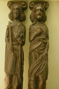 ANTIQUE Pr 19thc ARCHITECTURAL  WOODEN OAK CARVED CARYATID HOLY MEN FIGURES