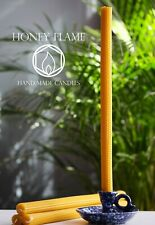 4 x EXTRA LONG 100% PURE BEESWAX candles ~ 42cm  x 2cm ~ Eco-friendly