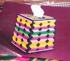 Design Works KALEIDOSCOPE  Color Sripes Tissue Box Cover Plastic Canvas Kit