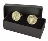 COIN CUFFLINKS - BRASS THREE PENCE CHOOSE THE YEAR 1937-1967 BIRTHDAY PRESENT
