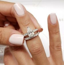 18K White Gold Diamond Engagement & Wedding Ring Set 2.5 Carat Pear Shaped F VS2