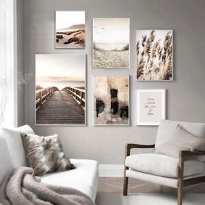 Scandinavian Nature Landscape Canvas Painting Sunset Wall Art Poster Home Decor