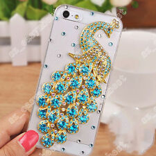 3D Peacock Case Luxury Bling Diamonds Rhinestone Crystal Hard Clear Phone Cover