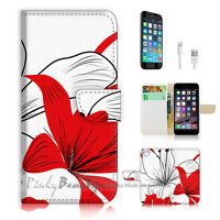( For iPhone 6 Plus / iPhone 6S Plus ) Case Cover Red White Flower P0481