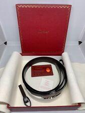 """Authentic CARTIER Men's """"H"""" Buckle Belt Leather Black / Brown L5000058"""