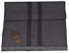 NEW Gucci 544628 Wool Ombre Grey Embroidered Logo Striped Scarf Muffler