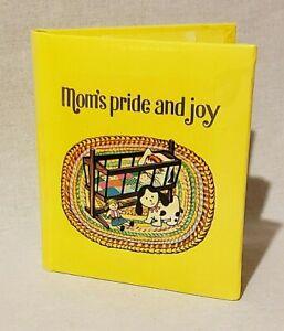 MOM's PRIDE & JOY Vintage Pocket Photo Album 1970s Wooden Cradle Dog Doll