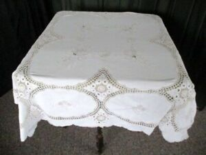 """TABLECLOTH - HAND EMBROIDERED+HAND CROCHET - CREAM COTTON ~ 50""""sq."""