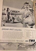 "1955 VTG Magazine Print Ad 8""X11"" Airlines Fly TWA Bargain Prices"