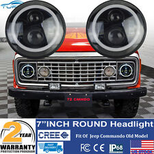 7inch Halo Angel Eyes LED Projector Headlights BLACK For Jeep Commando old Model