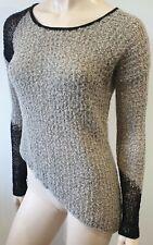 HELMUT LANG Beige & Black Loose Knit Asymmetric Hemline Jumper Sweater Top P