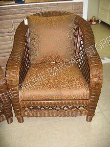 2 pc Frontgate Santa Clara Outdoor Patio Lounge Chair Sofa Cushions Scroll 26x24