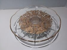 Vintage Georges Briard Pedestal Cake Stand Plate Server Gold Floral Inlay Signed