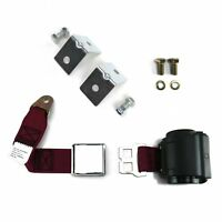 2pt Burgundy Retractable Airplane Buckle Lap Seat Belt w/ Anchor Hardware v8 hot