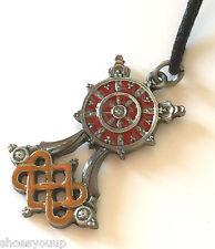 Briar Dharma Pewter Symbolic Pendant Charm, BUDDHIST WHEEL
