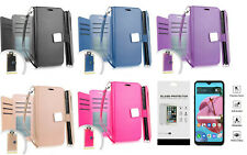 For LG Reflect L555DL / K51 K51S Deluxe Wallet Pouch Case Cover + Tempered Glass