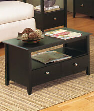 Black Contemporary Espresso COFFEE TABLE w/ Storage Drawer Living Room Furniture