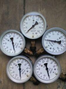 SET OF 5 Vintage Pressure Gauge.Steampunk.Lamp Parts.Industrial Home Decor.