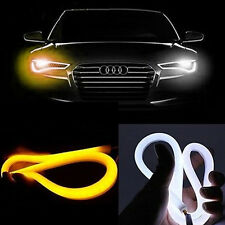 2PC 60CM Switchback Car DRL LED Light Strip Sequential Turn Signal White / Amber