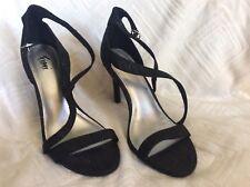 Fioni Justine Black W/ Glittery Thread Silver Strappy Heels Size 8 NWOB