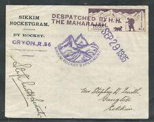 1935 Sikkim INDIA rocket mail R.86 signed Stephen H. Smith - EZ 13C1