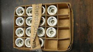 15 x alte Lampenfassung E14 Porzellan/Steinzeug? (DDR)