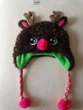 NWT JUSTICE GIRLS REINDEER EARFLAP HAT JINGLE BELLS POM POMS ONE SIZE