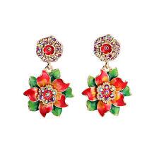 Pendiente`Orejas Pendientes Esmalte Flor Rojo Verde Multicolor Vintage Barroco