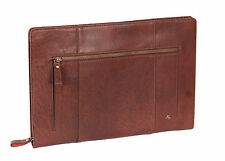 Real LEATHER Underarm BAG Tablet A4 Document Bailiff Zip Around Brown Folio Bag
