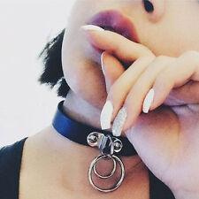 Classic Punk Rock Dark Harajuku Double O RING Leather Collar Choker Necklace