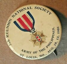 "1904 Army Of The Philippines 5th Reunion Society 1.75"" Pinback Button StLouis"