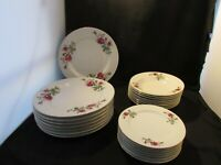 Fine China 8 Dinner Plates 8 Soup 8 Bread Red Pink Roses Gold Trim Made China 24