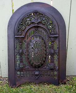 Stunning Ornate Cast Iron Victorian Fireplace Cover Arched Top