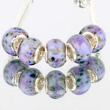Purple pink flowers 5pcs MURANO glass bead LAMPWORK For European Charm Bracelet