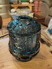 Vintage Blue Stars & Bars Fairy Lamp Homco Blue Glass Indiana Princess Lite